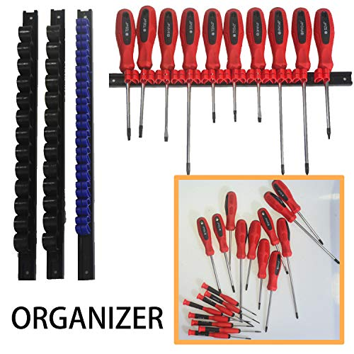 MESTUDIO 4 PCS Screwdriver Organizer and Wrench Organizer, Premium Quality Tool Holder, ABS Tool Rail Wrench Hanger with Clips Holder Organizers