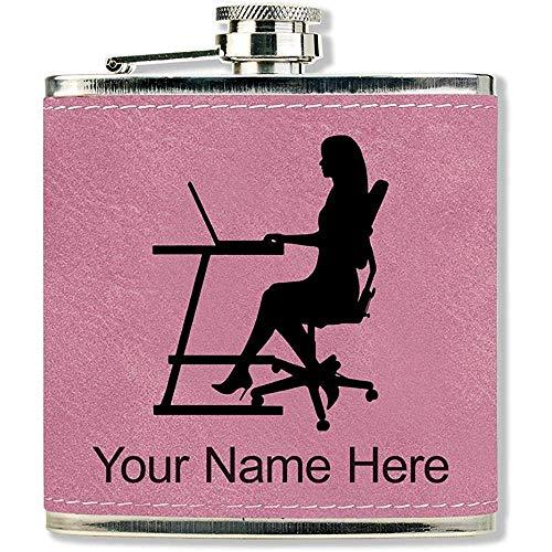 Kunstleder Flasche, Sekretär, personalisierte Gravur enthalten (Pink)