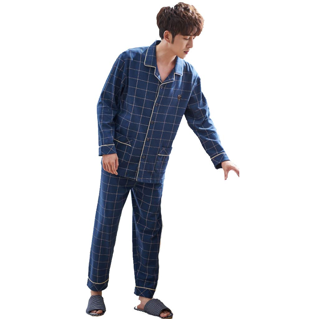 Pyjama Homme Coton Hommes Long Pyjama Ensemble Coton Hommes Pyjamas Ensemble De Pyjama D'Été Décontracté Porter Pyjama Tops et Pantalons Pyjama
