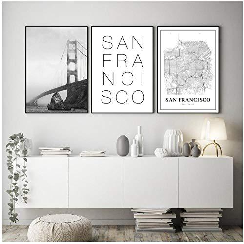 zhaoyangeng San Francisco Karte Drucken Golden Gate Bridge Schwarz Weiß Foto Wandbilder Usa Stadtplan Leinwand Gemälde Home Decor-50X70Cmx3 Kein Rahmen