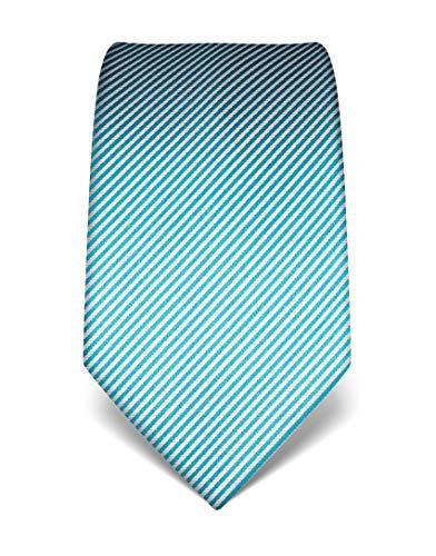 Vincenzo Boretti Herren Krawatte reine Seide gestreift edel Männer-Design zum Hemd mit Anzug für Business Hochzeit 8 cm schmal/breit türkis
