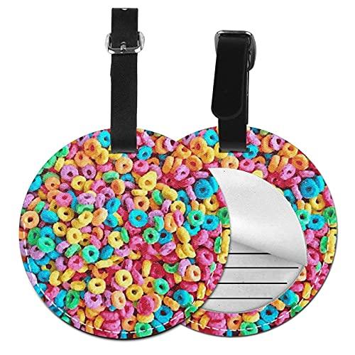 DJNGN Étiquette de bagage Petit déjeuner de céréales coloré, Sac en cuir Pu Valises de voyage Identifiant Étiquette de bagage pour femmes Hommes Garçons Filles