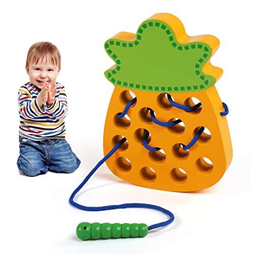 LEADSTAR Montessori Spielzeug, Fädelspiel ab 2 Jahren, Aktivität Holzspielzeug Kinder, Lernen Pädagogisches Holzblock Puzzles Entwicklung Threading-Spiel, Stress Abbauen Entspannend Reise - Ananas