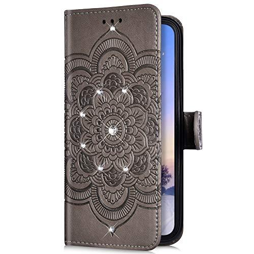 Uposao Compatible avec Huawei Honor 20 Pro Coque Glitter de Bling,Portefeuille PU Premium Housse Etui Cuir à Rabat Magnétique,Mandala Fleur Paillette Glitter Diamant Stand Folio Flip Case,Gris