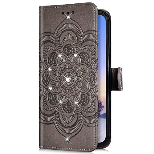 Uposao Kompatibel mit Huawei Honor 20 Handyhülle Mandala Blumen Muster Diamant Bling Glitzer Strass Schutzhülle Flip Wallet Bookstyle Klapphülle Leder Hülle Magnet Kartenfächer,Grau