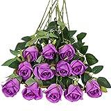 Tifuly 12 Piezas Artificiales de un Solo Tallo Largo Flor Rosa de Seda Flores de Imitación Rosa Ramo de Novia Flor Realista para el Banquete de Boda Decoración de la Mesa del Hogar Centros de Mesa