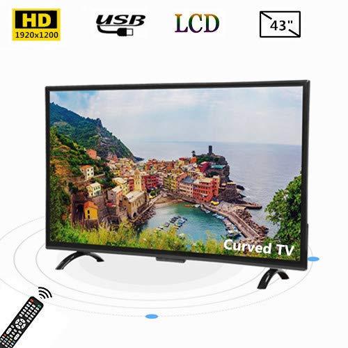 43-inch breedbeeld-tv met gebogen HDMI Smart TV 1920 x 1200 met HDR / USB / VGA / RF / AV, ondersteuning voor 4K-video-uitvoer en AI-spraakbesturing, 3000R-kromming (EU)