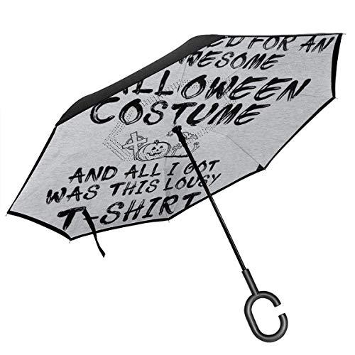 Mieser Halloween-T-Shirt-doppelter Schicht-umgekehrter Regenschirm für das Auto-Rückseiten-Falten umgedreht C-förmige Hände - LightweightWindproof Regenschirm