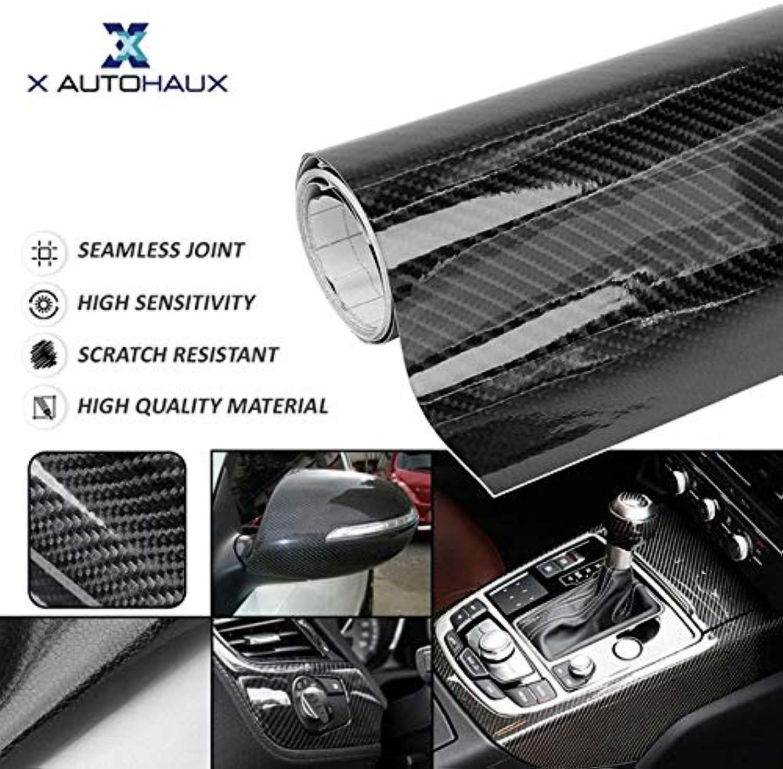 X AUTOHAUX 6D Carbon Fiber Bubble Free Stretchable 152 x 30cm 60cm 300 x 50cm Black Car Whole Body Vinyl Film Sticker  (color Name  Black, Size  152 x 60cm)