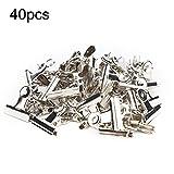 Document Clip-Vobor, clip de papel de acero inoxidable para oficina escolar (40 piezas)(Plata)