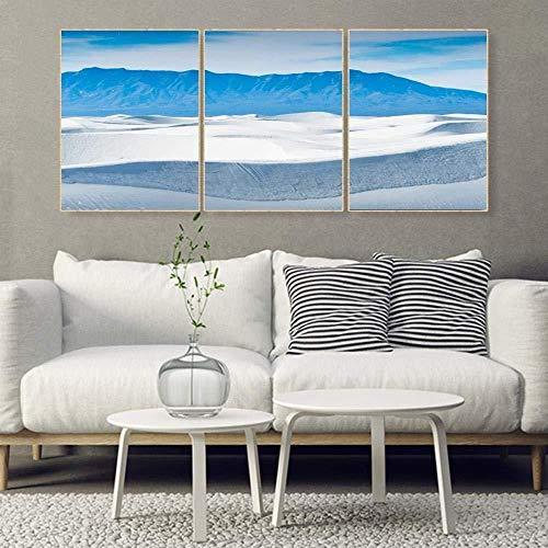 3-teiliges Kalligraphiemalerei auf Leinwandmotiv: Strand und Meer abstrakte Plakate und Drucke nordisches Familienwohnzimmerdekorationsbild rahmenlos 30 x 50 x 3