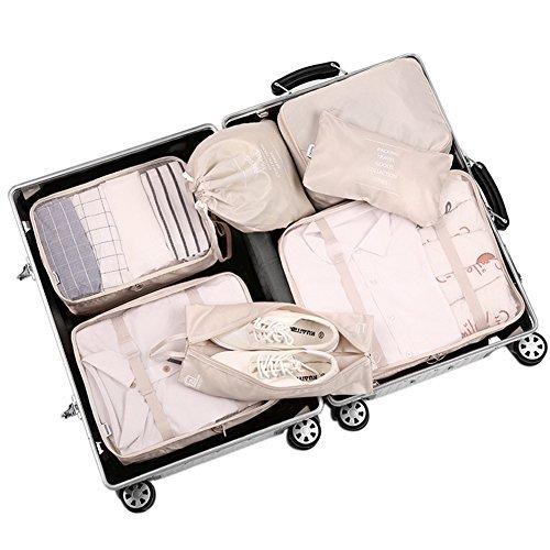 Belsmi Reise Kleidertaschen Set 7-teilig Reisetasche in Koffer Reisegepäck Organizer Kompression Taschen Kofferorganizer Mit Schuhbeutel (Beige) (Beige)