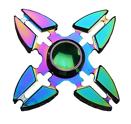 Fidget Hand Spinner,Four Metal Winged Stress Reducer High Speed Killing Time Spins. Fidget Toy Bearing Anxiety Relief EDC Toys For ADD,ADHD,Quit Smoking, Anxiety and Autism Adult Children(Rainbow-09)