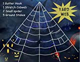 Giant Spider Web 22.9 X 18 Ft White Halloween Spider Web with Gutter Hook Set Easy to Decor Outdoor Yard