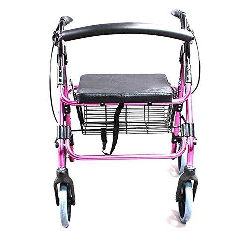 Rollator Folding Lightweight Rollator Walking Frame mit Verriegelung Bremsen, tragbare Trolleys mit Bremsen, Sitzgelegenheiten und Handtaschen.