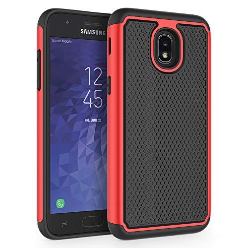 SYONER Shockproof Phone Case Cover for Samsung Galaxy J3 2018 / J3 V 3rd Gen / J3V 2018 / J3 Orbit / J3 Star / J3 Achieve/Express Prime 3 / Amp Prime 3 / J3 Eclipse 2 / Sol 3 / J3 Aura [Red]