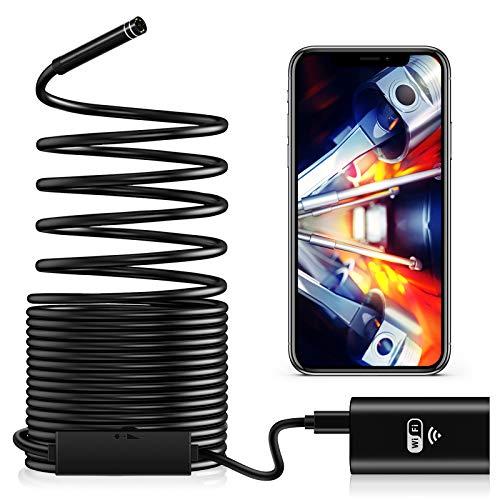 TAOPE Endoskopkamera WiFi, Inspektionskamera 2,0 Megapixel HD mit LED-Licht wasserdichte Endoskop Kamera Borescope Starre Schlangenkabel für Android iOS iPhone Tablet PC Smartphone - 10 Meter