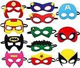 Kitticcino Super Heros Masks Cartoon Party Supplies Favors for Kids(12pcs), Children Cosplay Character Felt Masks Bday Party Dress -up