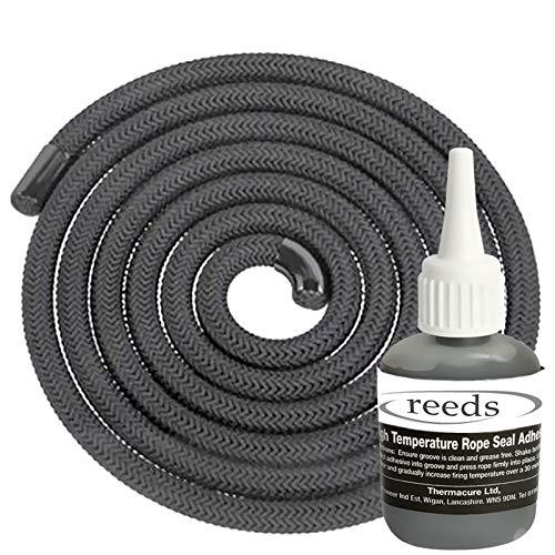 Black Stove Rope Kit 10mm x 2m Long with Reeds Adhesive Flues Glass Door Seals