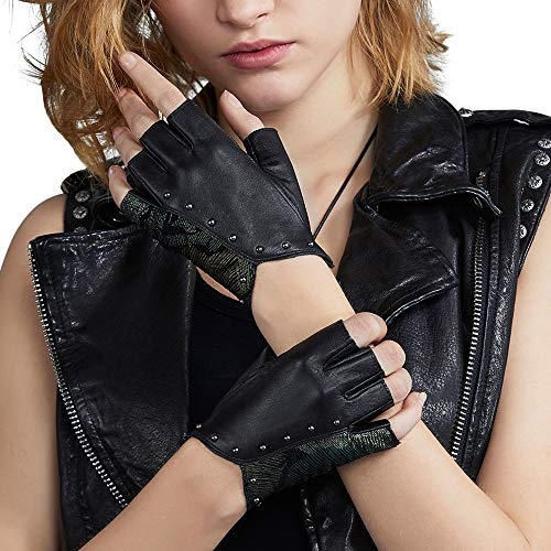 Fioretto Womens Driving Leather Gloves Fingerless Gloves Italian Genuine Goatskin Leather Half Finger Gloves Unlined Black