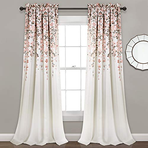"Lush Decor 16T004096, Blush and Gray Weeping Flowers Room Darkening Window Panel Curtain Set (Pair), 84"" x 52, 84' x 52'"