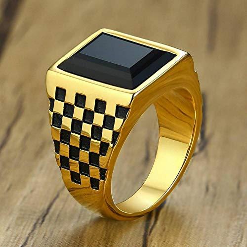 ERDING Fashion Gift/Checkerboard Textuur Ring Voor Mannen Grote Stone Band Goud Kleur Hand Gepolijst RVS Mannelijk Schaakbord Juwelen Maat 7-12
