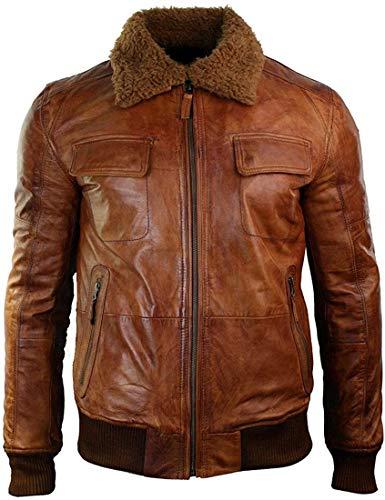 HiFacon Brando Vintage Cafe Racer Motorradjacke, Lederjacke Gr. M, K) G1 Flieger Tan Brown Echtleder