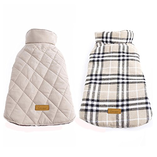 Kuoser Cozy Waterproof Windproof Reversible British Style Plaid Dog Vest Winter Coat Warm Dog Apparel for Cold Weather Dog Jacket for Small Medium Large Dogs with Furry Collar (XXS - 4XL) Beige XXS