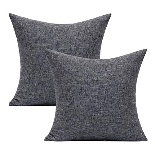 All Smiles Dark Grey Cushion Covers Charcoal Plain Square Pillow Covers '18x18 'Set of 2 Home Décor Outdoor Decorations for Sofa Bed Living Room