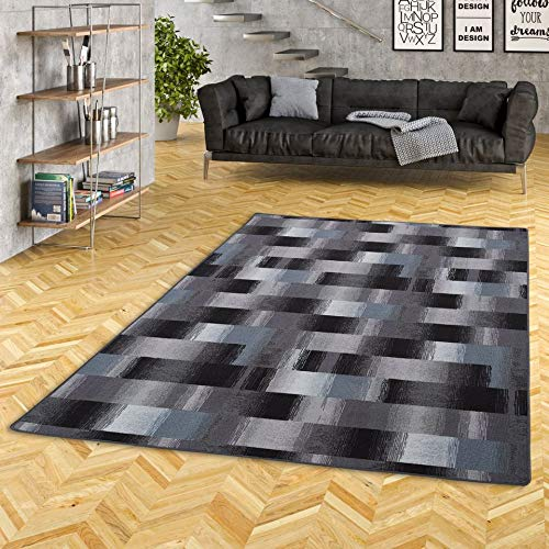 Mystic Designer Velour Teppich Karo Blau Grau Anthrazit in 24 Größen