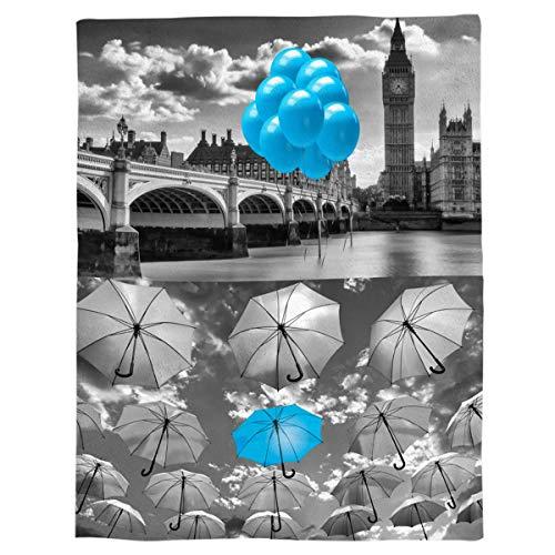 Manta de Tiro de Franela Puente de Paraguas Azul Manta de Cama de Lana Liviana Manta Gris Suave y cálida Sofá/sofá/Silla para Todas Las Estaciones para niños Adultos