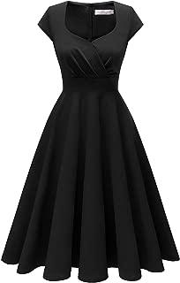 Homrain Women's Cocktail Dress Vintage 1950s Retro Cap Sleeve A-Line Rockabilly Swing Dress