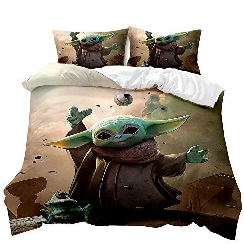 ZKDT - Funda nórdica mandaloriana con dibujos animados 3D, Baby Yoda, cremallera de microfibra, funda nórdica y funda de almohada para niños (Baby Yoda 01,220 x 240 cm + 2 x 50 x 75 cm).