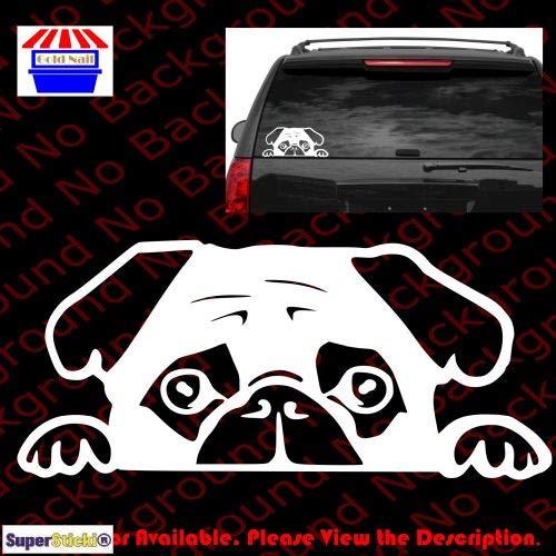 Superstick, Pug op raam, ca. 20 cm, sticker, autostickers, stickers, decal, muurtattoo, van hoogwaardige folie, uv- en wasstraatbestendig,