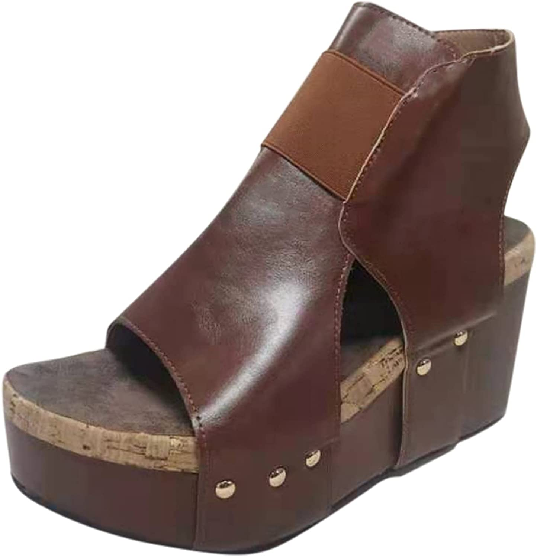 Sandals for Women Max 79% OFF Dressy Summer Wedge Vintage Zip Solid Peep Ranking TOP9 Toe