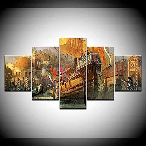 Cinco Pinturas Consecutivas Paisaje De Barco De Vapor Impresión De 4 Sellos 5 Piezas De Sala De Estar Pintura Mural Moderna Obra De Arte Póster De Arte De Pared Hd (150 Cm X 80 Cm) Sin Marco