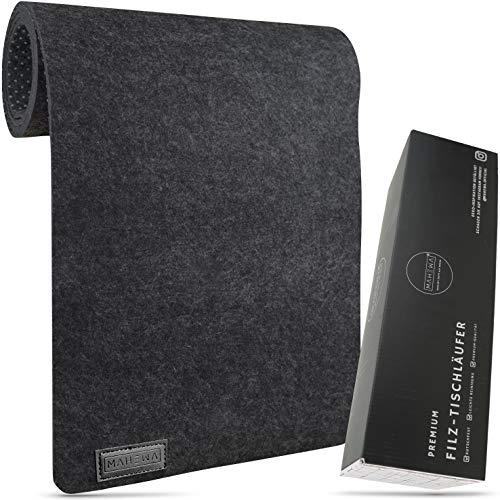 MAHEWA® Tischläufer aus Filz rutschfest - 150x29cm - Ab-waschbar und Waschmaschinenfest Dunkel-Grau/Anthrazit