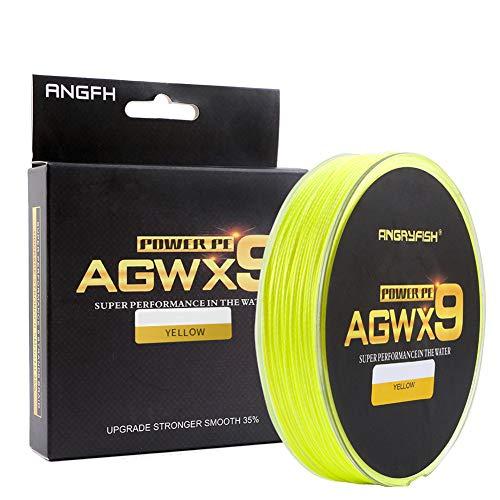 ANGRYFISH Diominate X9 PE Line 9 hilos teje trenzado 300 m / 327yds línea de pesca súper fuerte 15LB-100LB amarillo