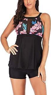 3b83f6e074 Ularma 2019 Women Tankini with Board Shorts Plus Size Tummy Control Print  Swim Jumpsuit Swimsuit Beachwear
