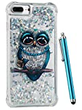 iPhone 8 Plus Case Glitter, CAIYUNL Liquid Sparkle Bling Luxury Clear Cute Phone Cases Slim Cover TPU Girls Kid Men Shockproof for Apple iPhone 7 Plus/ iPhone 6S Plus/ iPhone 6 Plus &Stylus -Blue Owl