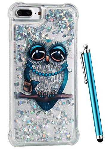 For iPhone 8 Plus Case Glitter, CAIYUNL Liquid Sparkle Bling Luxury Clear Cute Phone Cases Slim Cover TPU Girls Kid Men Shockproof for Apple iPhone 7 Plus/iPhone 6S Plus/iPhone 6 Plus &Stylus-Blue Owl