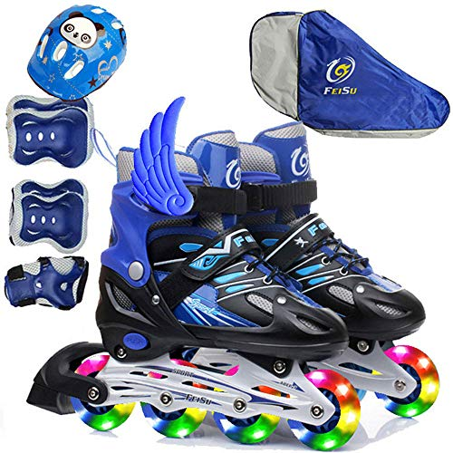 Inline Skates Kinder Leucht PU Räder LED Schuhe ABEC 7 Kugellager Verstellbar Inlineskates Jungen Mädchen Canvas Design Einstellbare Rollschuhe Mit Dreifach Schutz Leichte Schutzausrüstung S-M