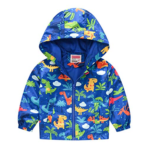 Toddler Kids Baby Grils Boys Autumn Hooded Jacket Dinosaur Print Cute Cartoon Long Sleeve Windproof Coat with Pockets