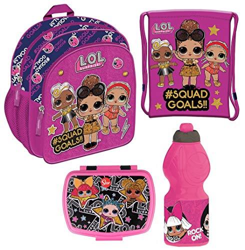 Familando Mädchen Rucksack-Set LOL Surprise Pink / Lila / Violett 4tlg. mit Turnbeutel, Brotdose und Trinkflasche z.B. für den Kindergarten / Krippe