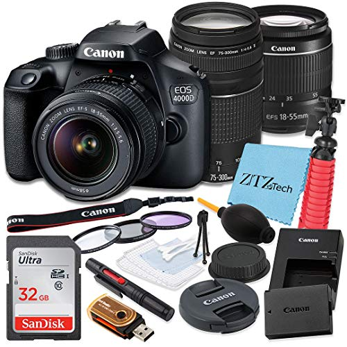Canon EOS 4000D / Rebel T100 DSLR Camera 18-55mm and 75-300mm Dual Lens Kit, SanDisk 32GB Memory Card, Tripod, 3 Pieces Filter (UV, CPL, FLD) and ZeeTech Accessory Bundle