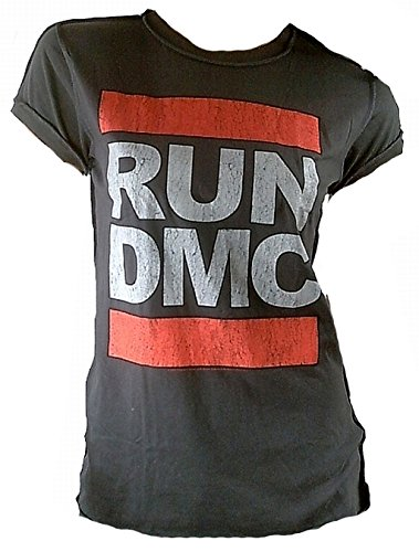 Amplified Damen Lady T-Shirt Grau Holzkohle Charcoal Anthrazit Official Run DMC Merchandise Logo Hip Hop Rap 80 er Rock Star Vintage Nähte Aussen VIP Rockstar L 42
