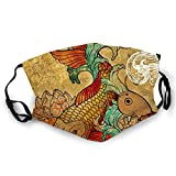 Luase Face Covering Mask,Koi (version2) Bandana Scarf Reusable Washable Fabric Breathable Adjustable Earloop for Public Use