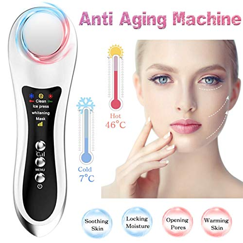 Anti Aging Machine 4 IN 1 Facial Lifting Device For Wrinkle Removal Face Hot and Cold Massager Ion Skin Tightening Machine Deep Cleansing with Sonic Vibration Eye Massager Multifunctional Instrument