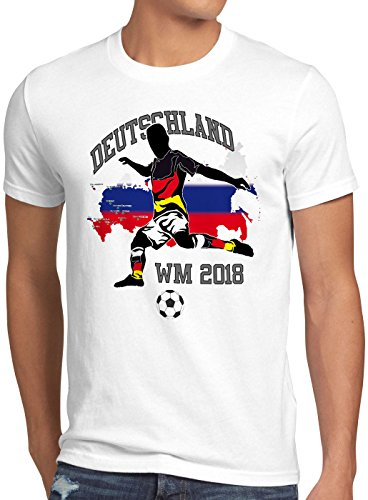 style3 WM 2018 Deutschland Herren T-Shirt Fußball Weltmeisterschaft Trikot Germany, Farbe:Weiß, Größe:5XL