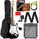 Fender Squier Stratocaster Pack Black Bundle with Padded Gig Bag, Frontman 10G Amp, Instrument Cable, Tuner, Strap, Picks, Fender Play Online Lessons, Guitar Book, and Austin Bazaar Instructional DVD